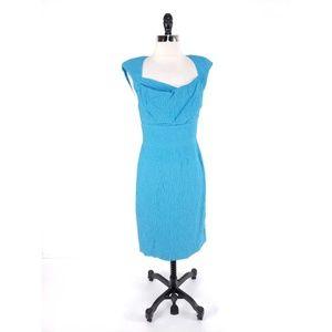 Black Halo Catherine Puckered Pleated Dress